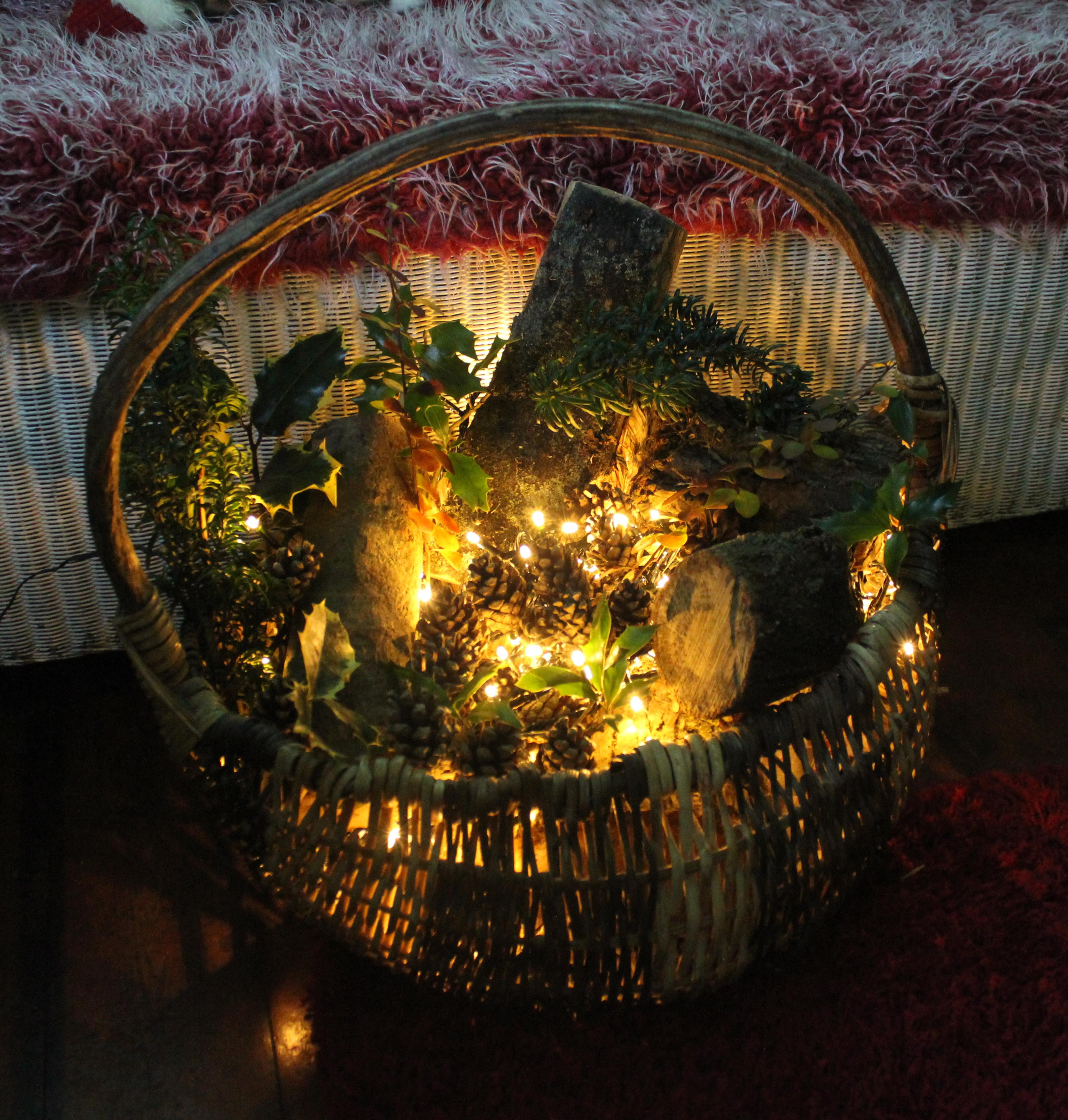 Make A Rustic Basket Decoration For Christmas