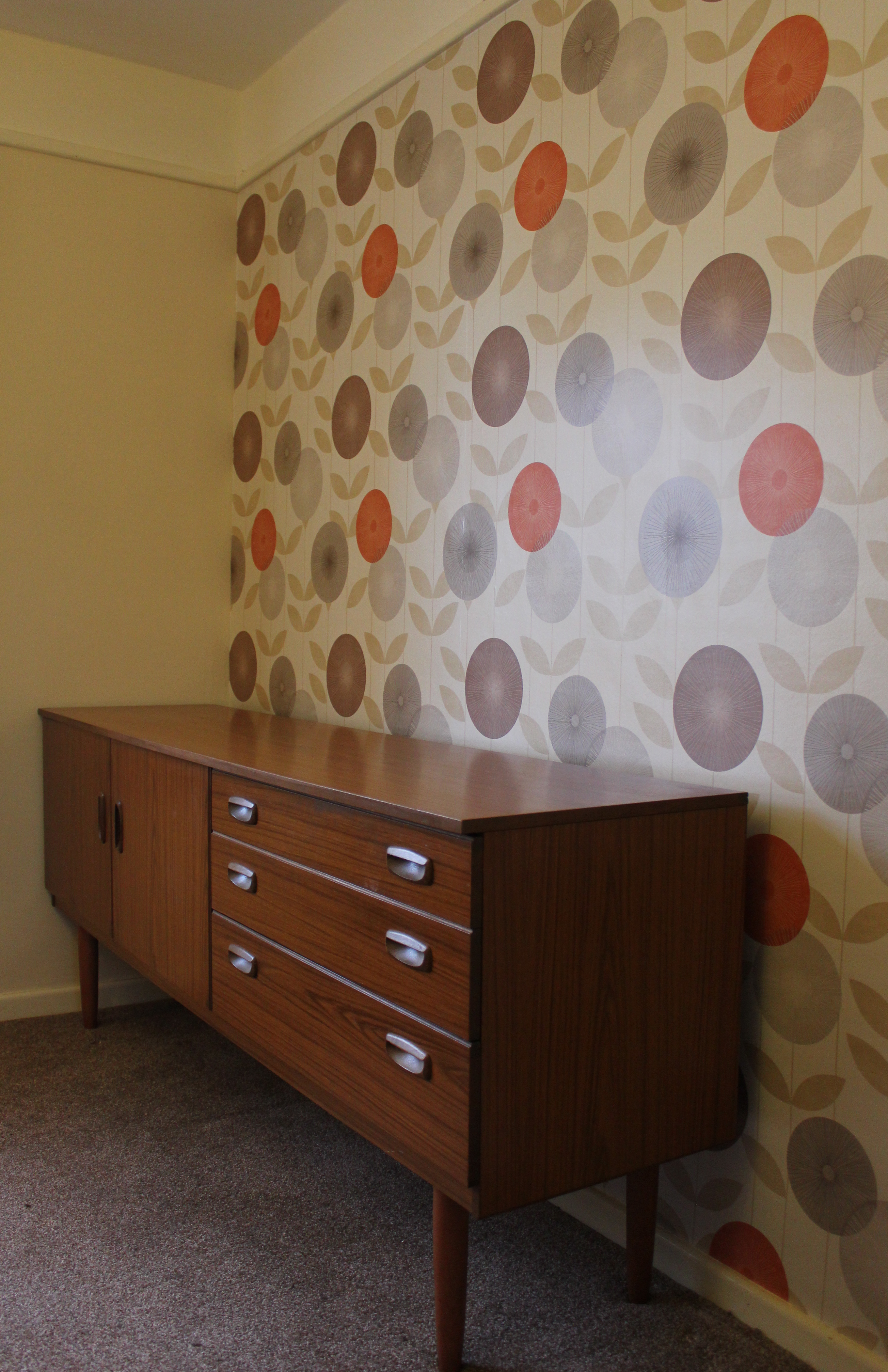 Wallpapering For A Living Room Inspirations For A Retro Living Room The Wallpaper Is Finally Up