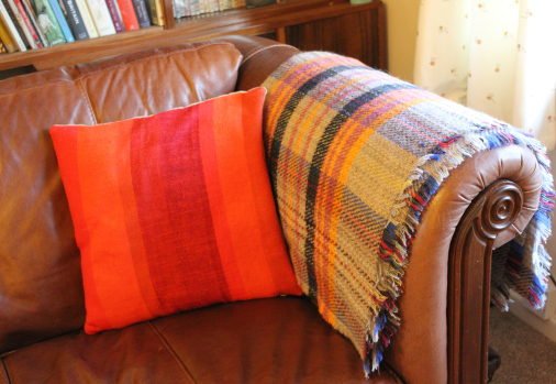 Orange tweed mill blanket knitted wool throw tartan grey - Living room throw blankets ...